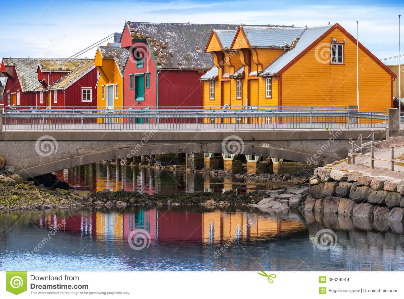 Norwegian village with colorful wooden houses stock photo for Norway wooden houses