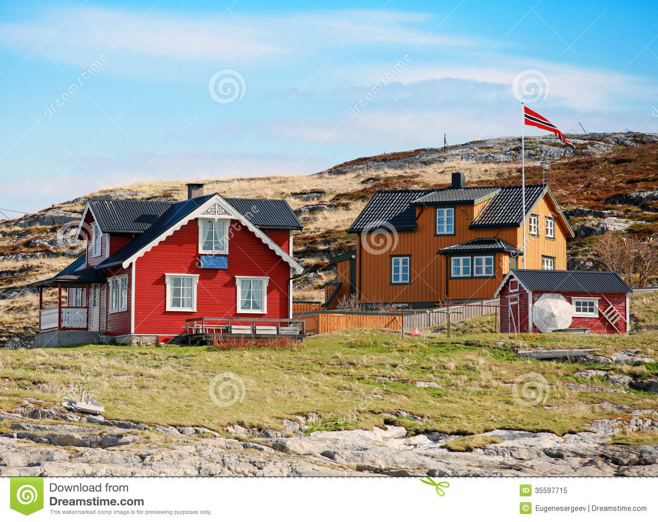 Norwegian village with colorful wooden houses stock image for Norway wooden houses