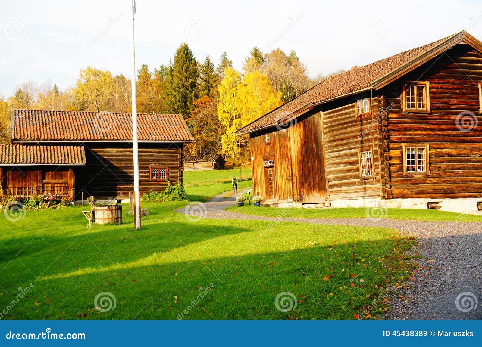 Norwegian Wooden Farm Houses Stock Image