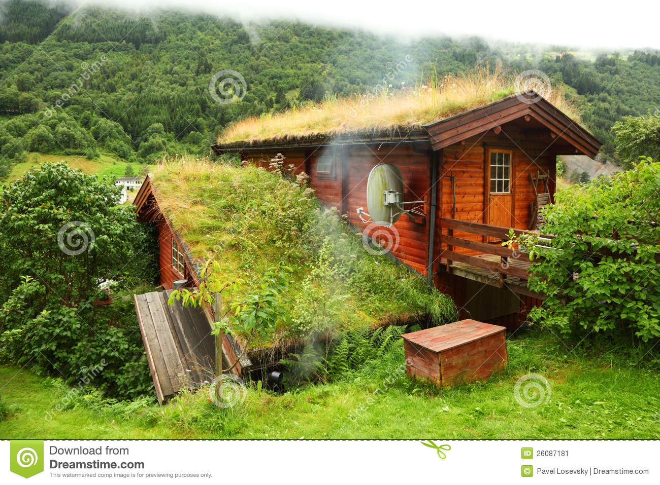 Norwegian Wooden House On Hill Editorial Photo Image