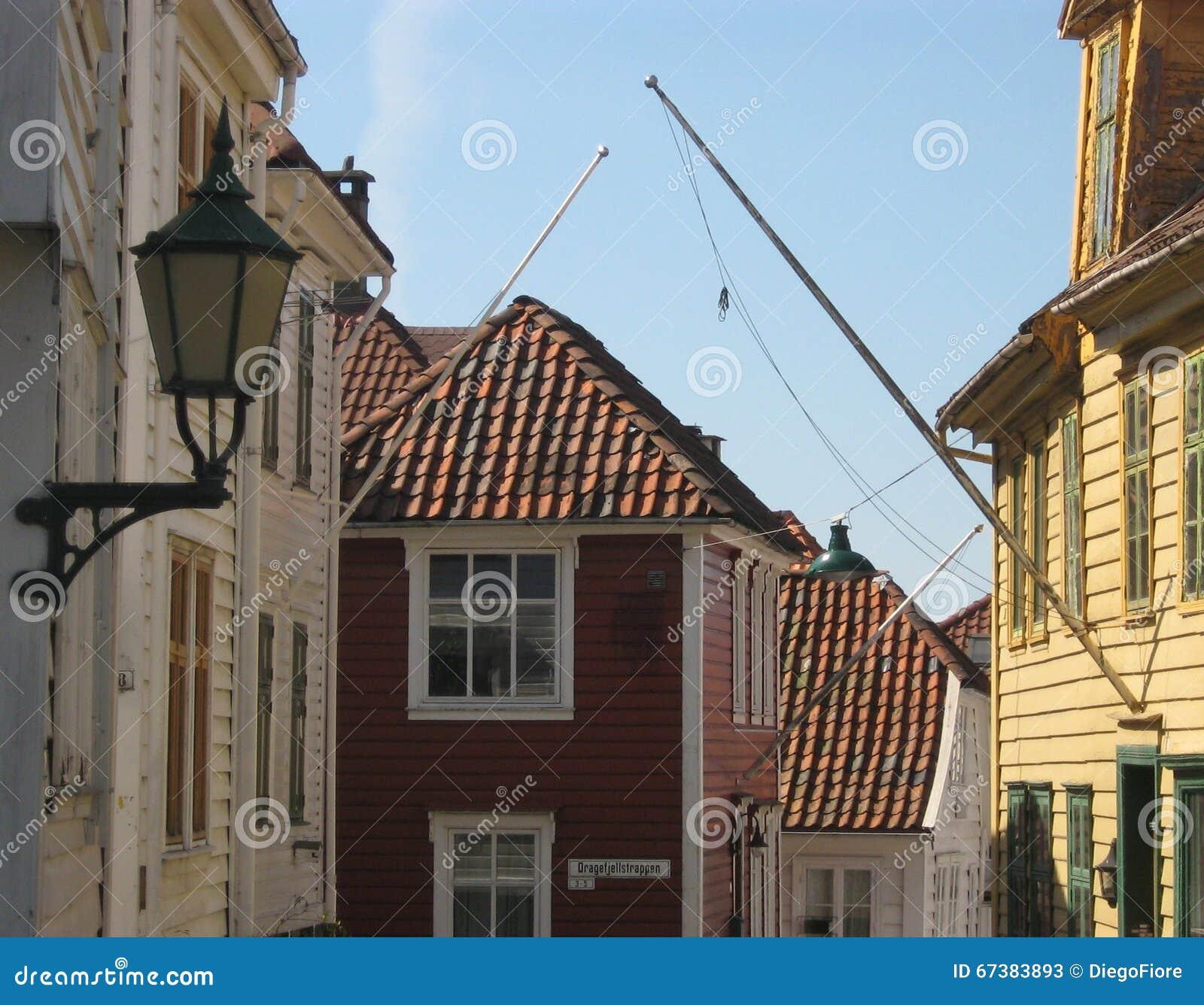 Norwegian Wooden Houses In Bergen Norway Stock Photo