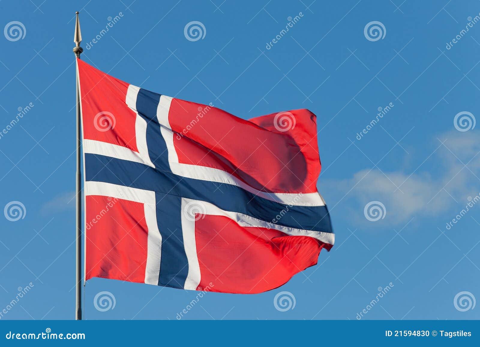 Download Norwegische Markierungsfahne Stockfoto - Bild von standard, windig: 21594830