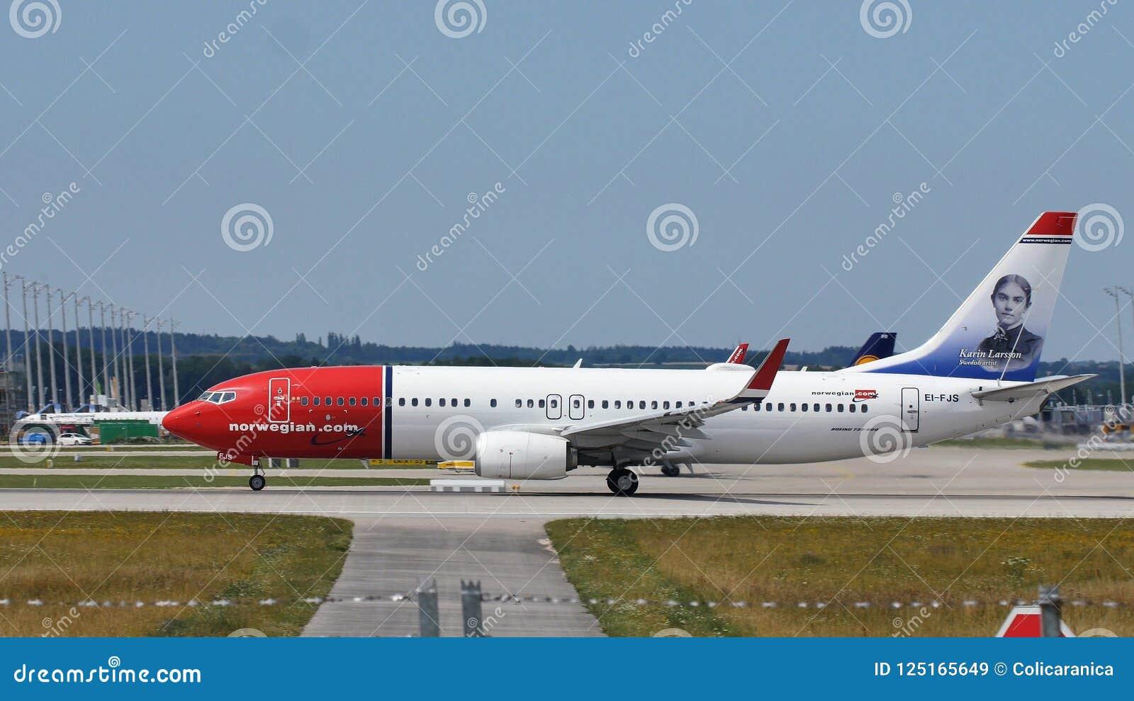 Norweski Lotniczej linii samolot bierze daleko od Monachium MUC lotniska