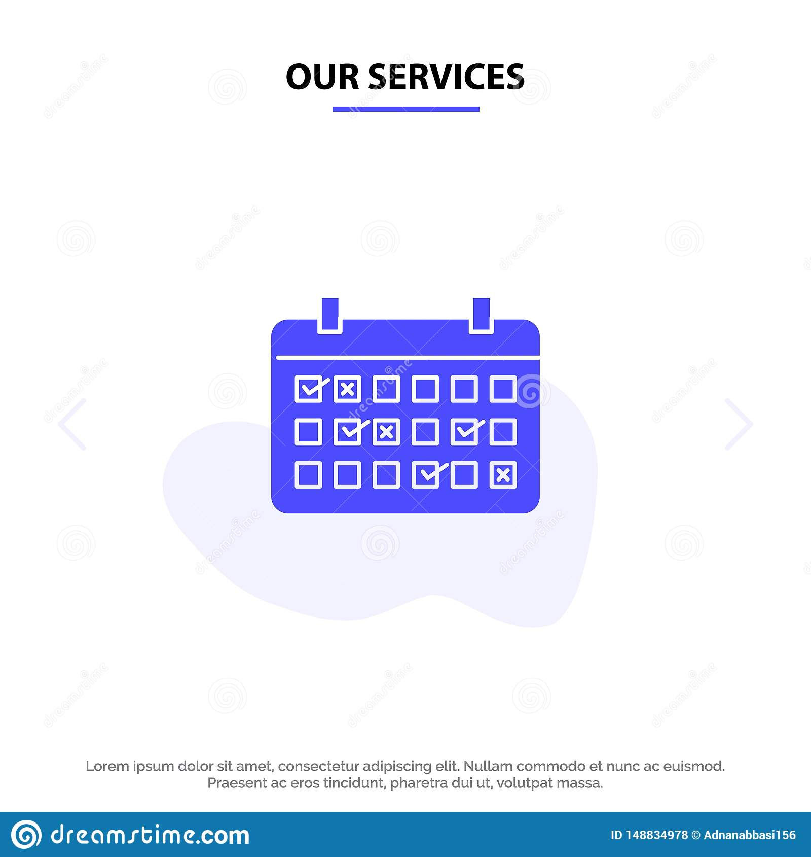 Nos services classent, datent, mois, année, calibre solide de carte de Web d icône de Glyph de temps
