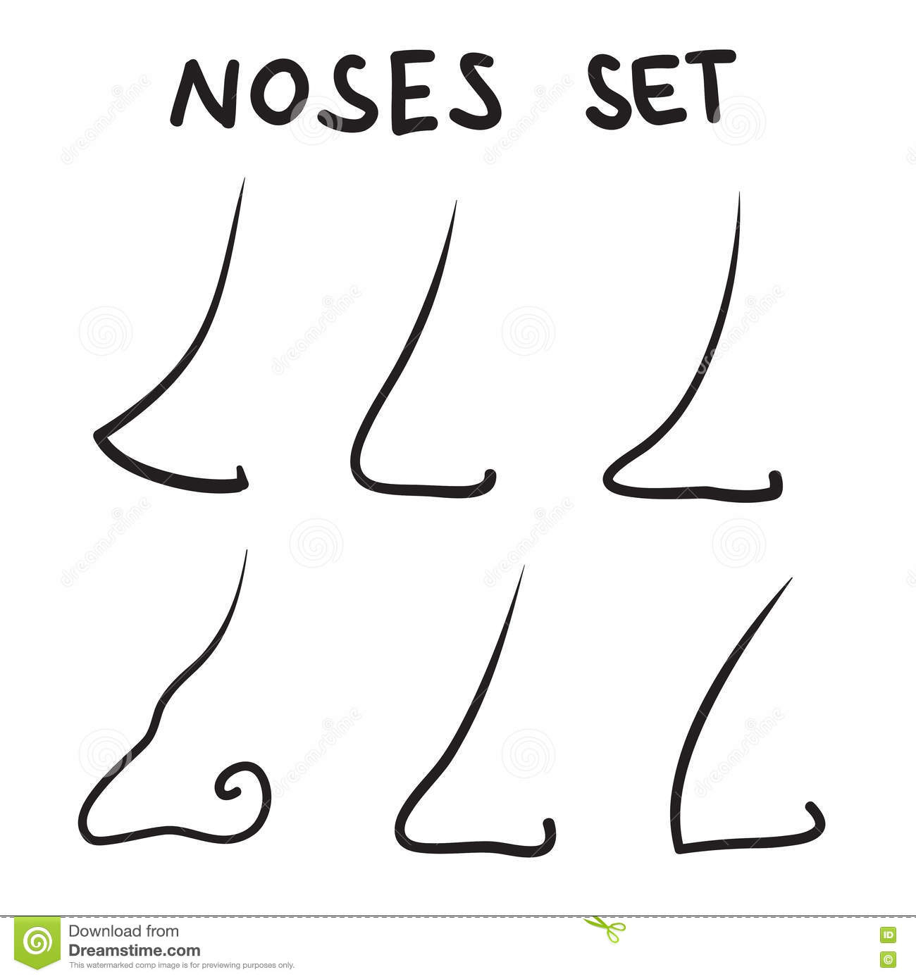 Nose Icons Set Vector Line Symbols Stock Vector