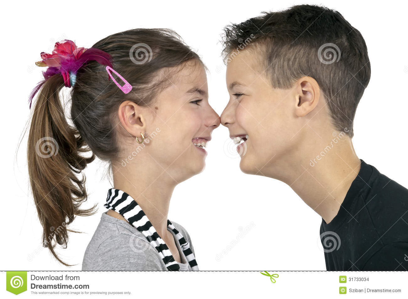 Nose kisses stock photo. Image of face, carefree, child ...
