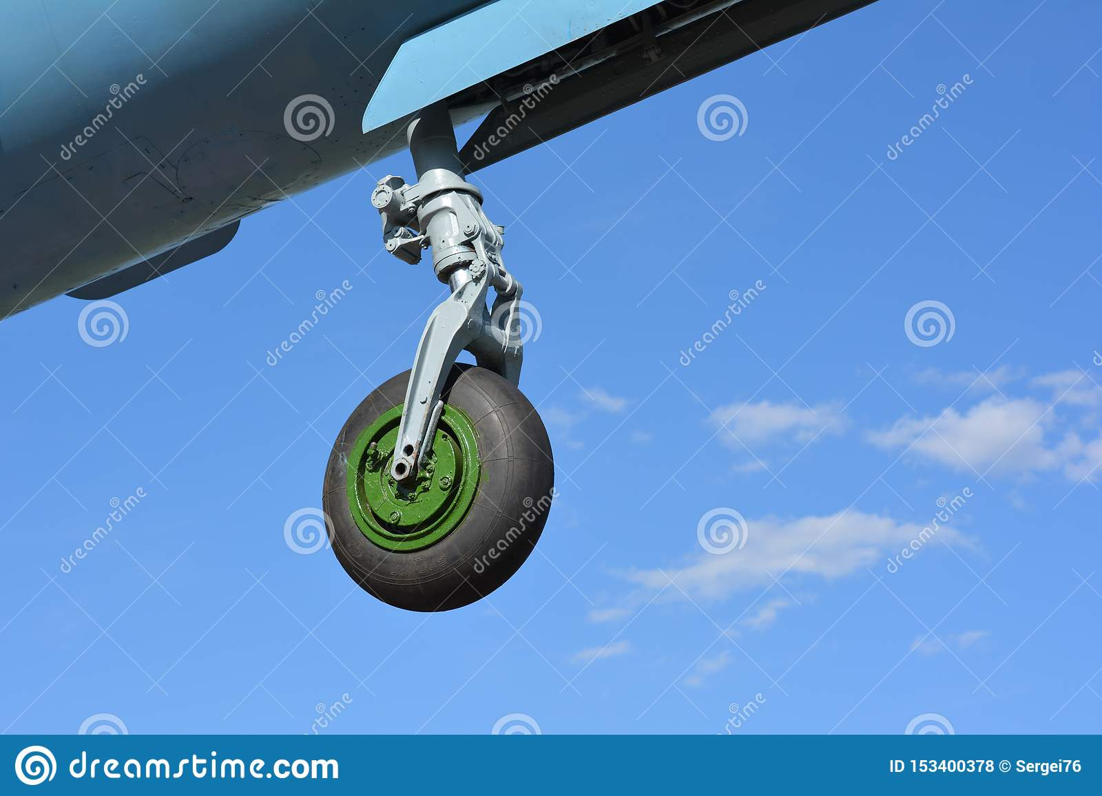 Nose landing gear of aircraft fighter MIG-21.