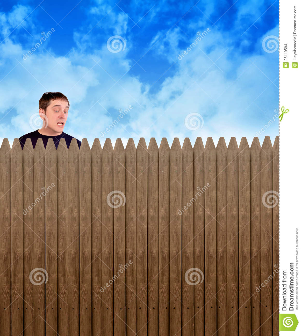Nosey Neighbor Man Looking Over Fence Stock Images Image