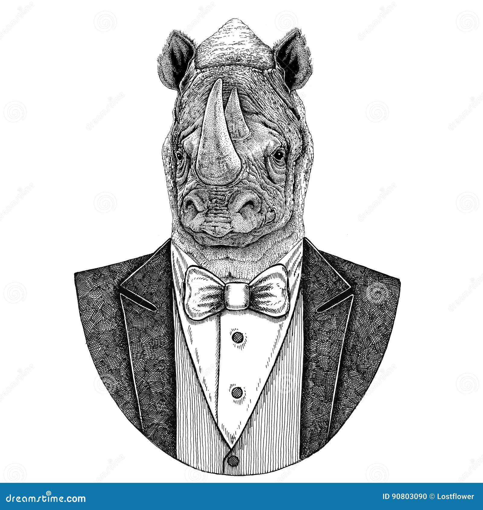 Noshörning dragen illustration för noshörningHipster djur hand för tatueringen, emblem, emblem, logo, lapp, t-skjorta