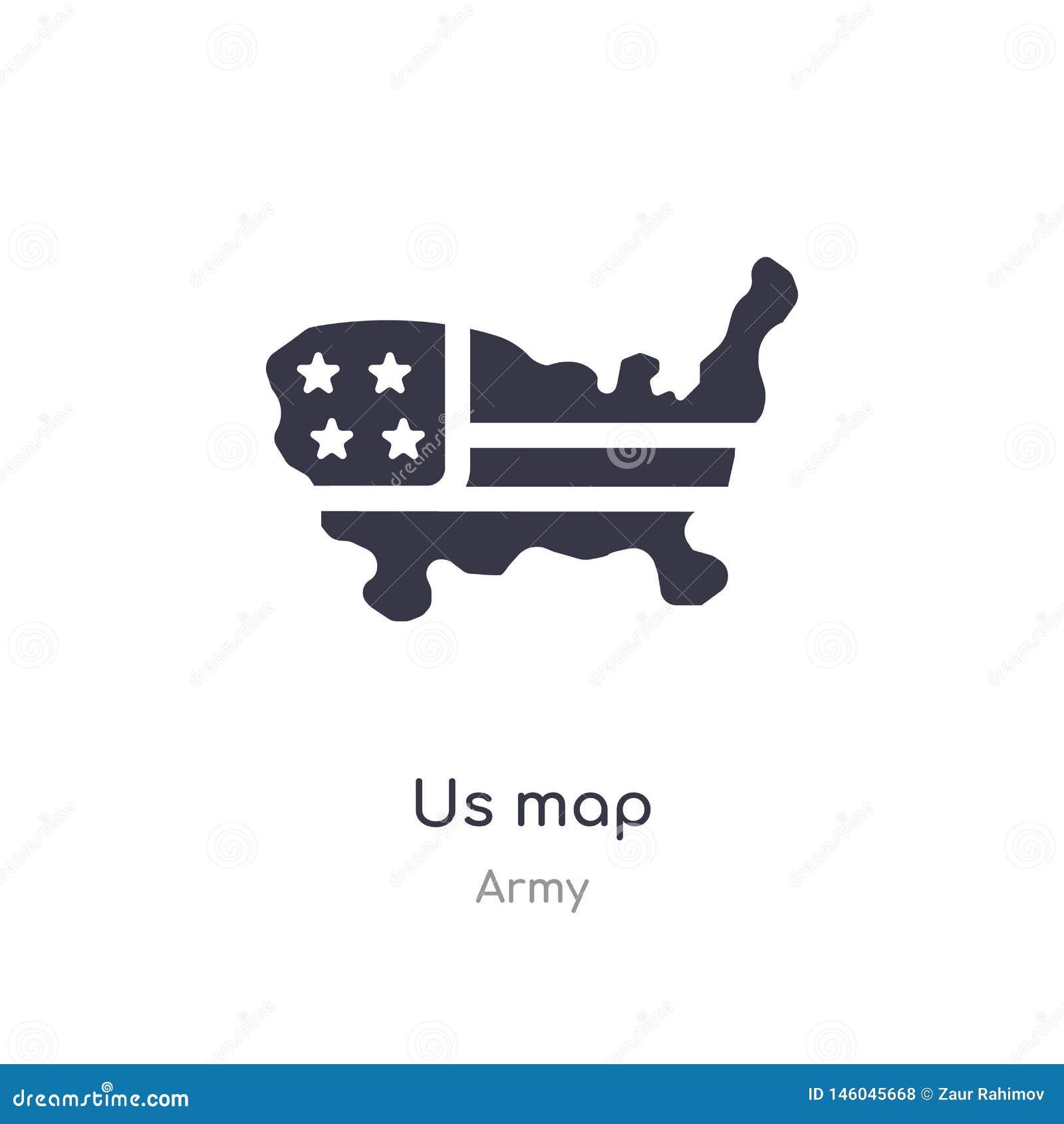 Nosotros icono del mapa nos aisló para trazar el ejemplo del vector del icono de la colección del ejército editable cante el s?mb