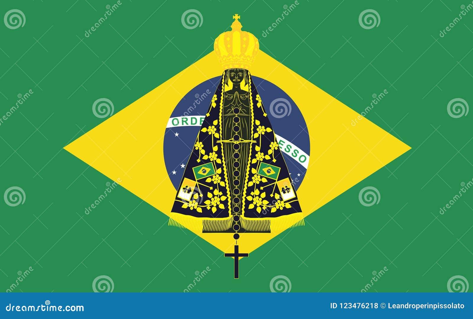 Nossa Senhora Aparecida Brasil: Nossa Senhora Aparecida Fundo Da Bandeira De Brasil
