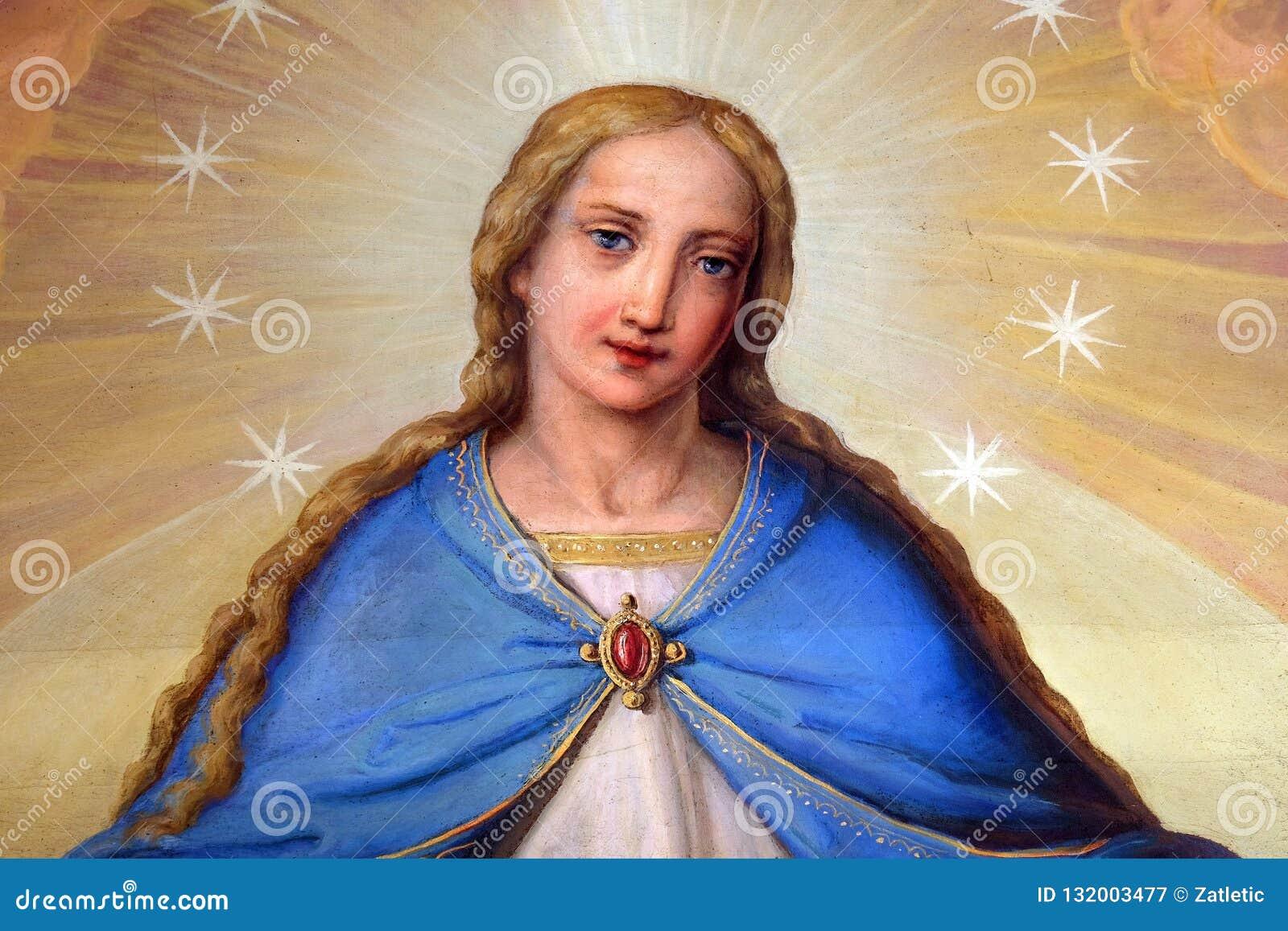 Nossa senhora, retábulo na basílica do coração sagrado de Jesus em Zagreb