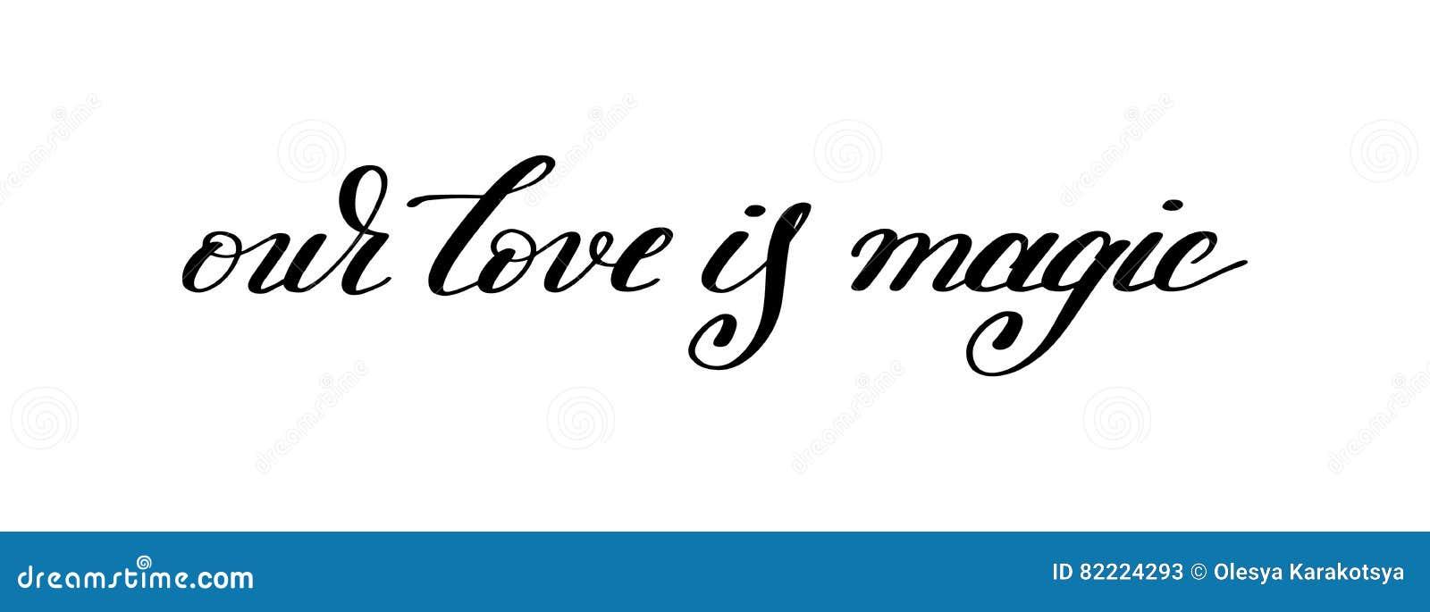 Nosso amor é citações escritas à mão mágicas da rotulação sobre o amor ao vale
