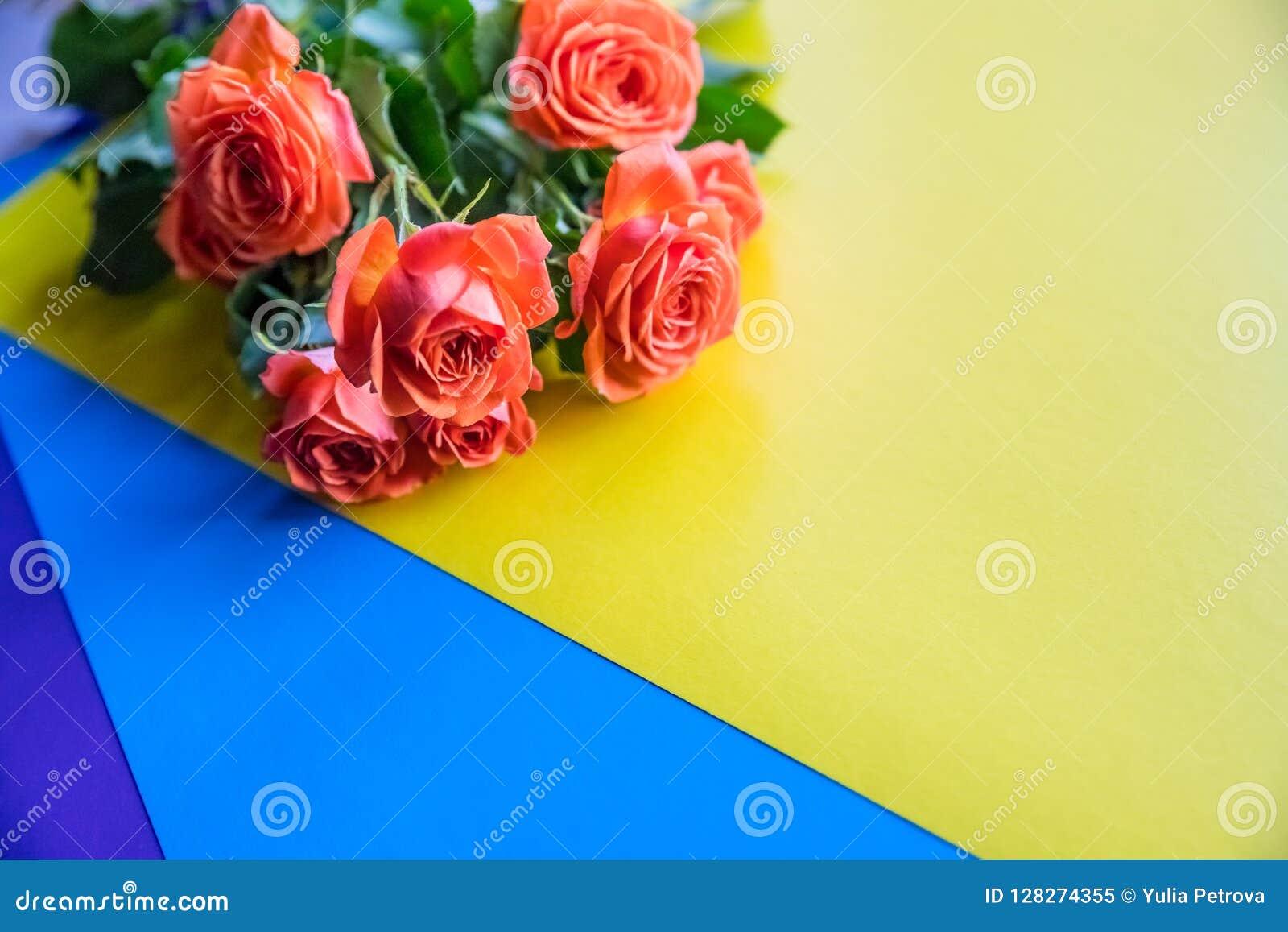 Nostálgico amarillo y anaranjado Eden Rose Rosas anaranjadas en fondo colorido del arco iris Copie el espacio Postal de los salud