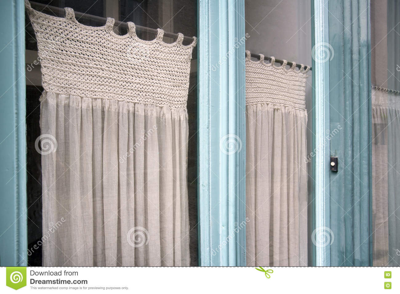 Nostalgia Glass Front Door And Curtains Stock Photo Image Of