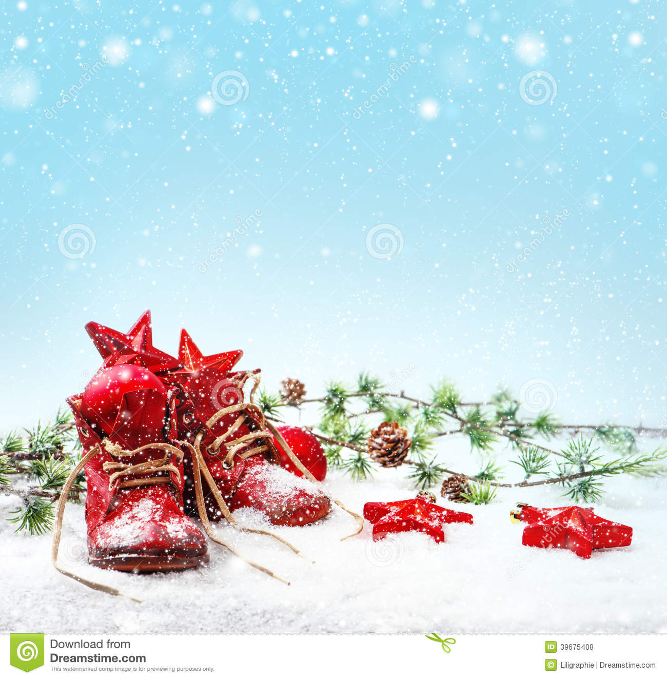 download nostalgic christmas decoration with antique baby shoe stock photo image of background snowflakes