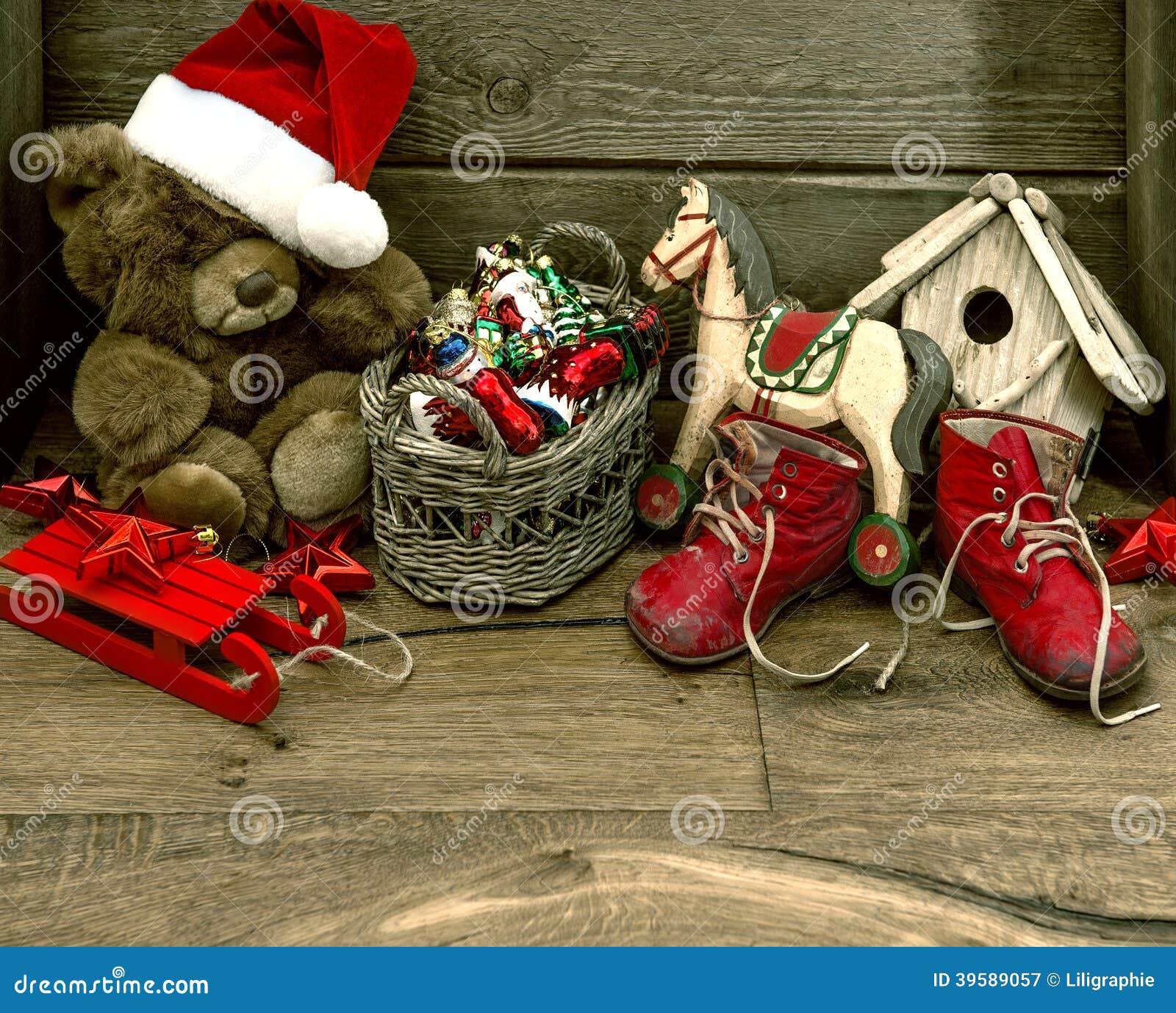 Nostalgic Christmas Decorations: Nostalgic Christmas Decoration With Antique Toys Stock