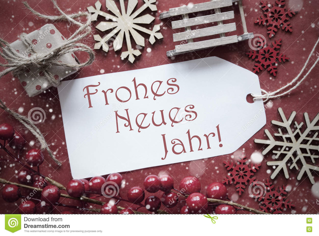 Nostalgic Christmas Decoration, Label With Neues Jahr Means New Year ...