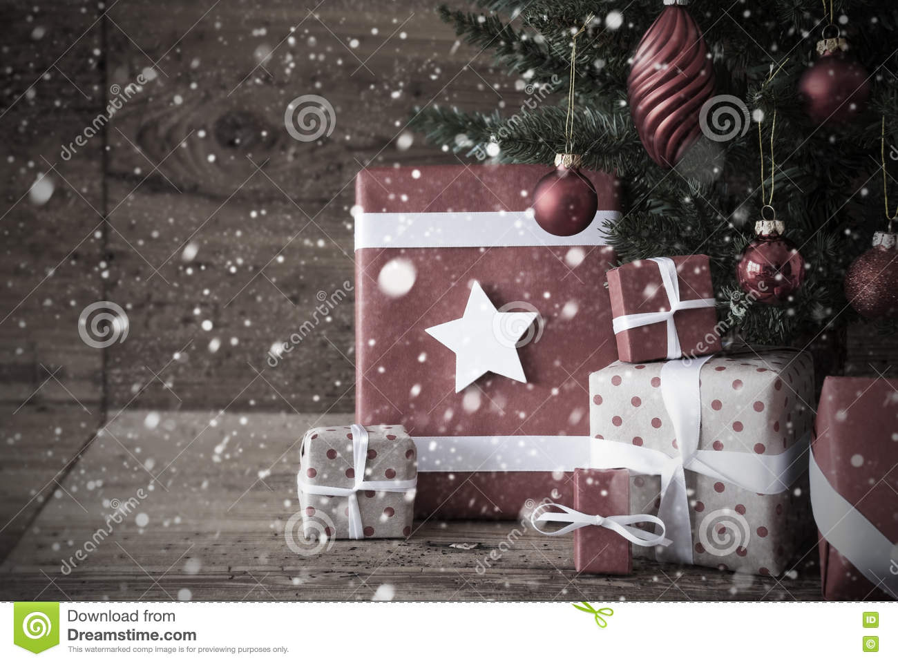 Nostalgic Christmas Tree With Presents And Balls, Snowflakes Stock ...