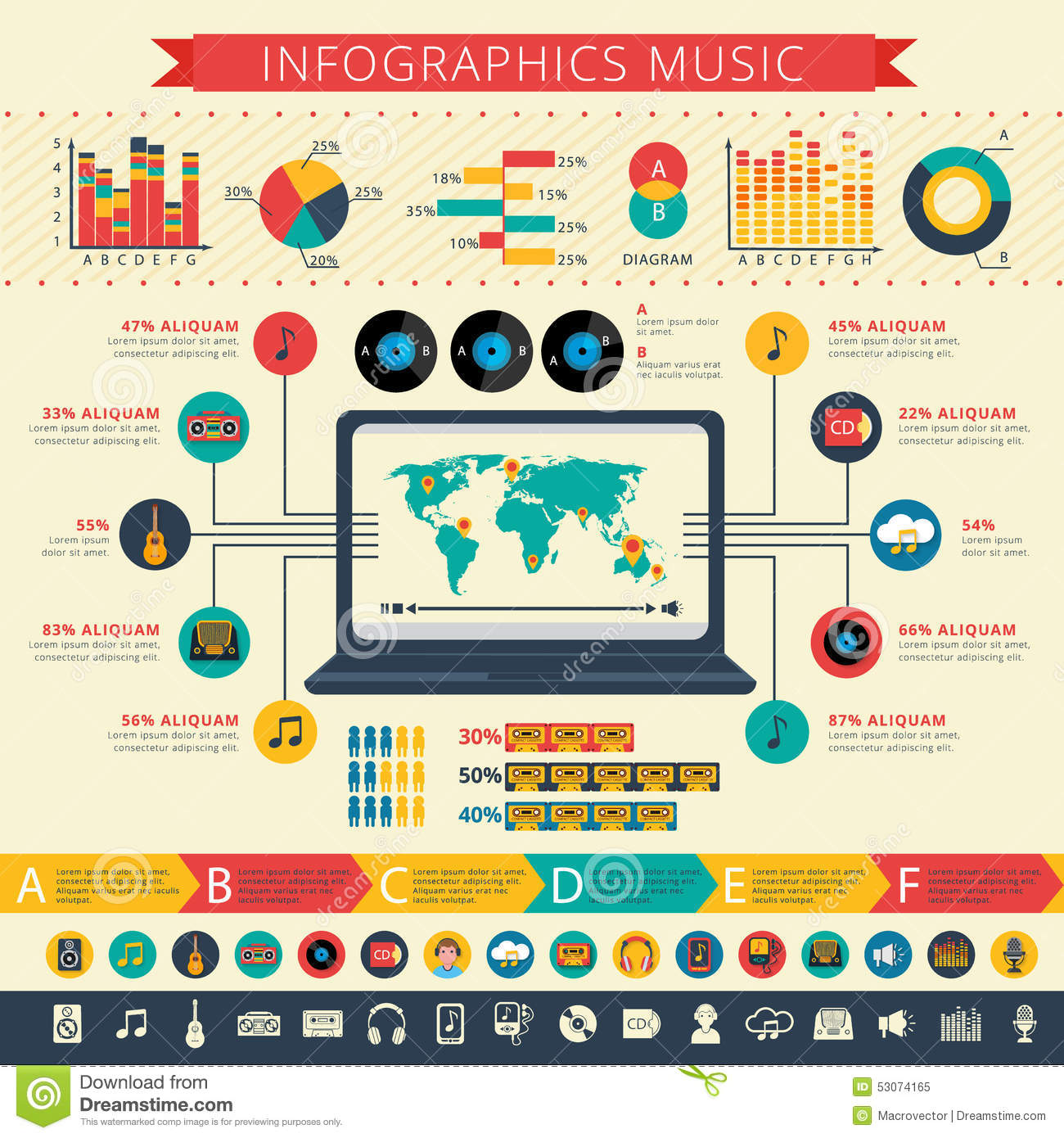 Nostalgic Music Infographic Presentation Print Stock