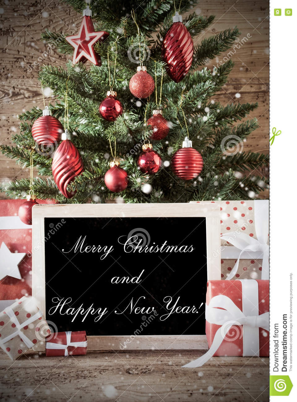 Nostalgic tree with merry christmas and happy new year stock image nostalgic christmas card for seasons greetings christmas tree with balls gifts or presents in the front of wooden background chalkboard with english text m4hsunfo