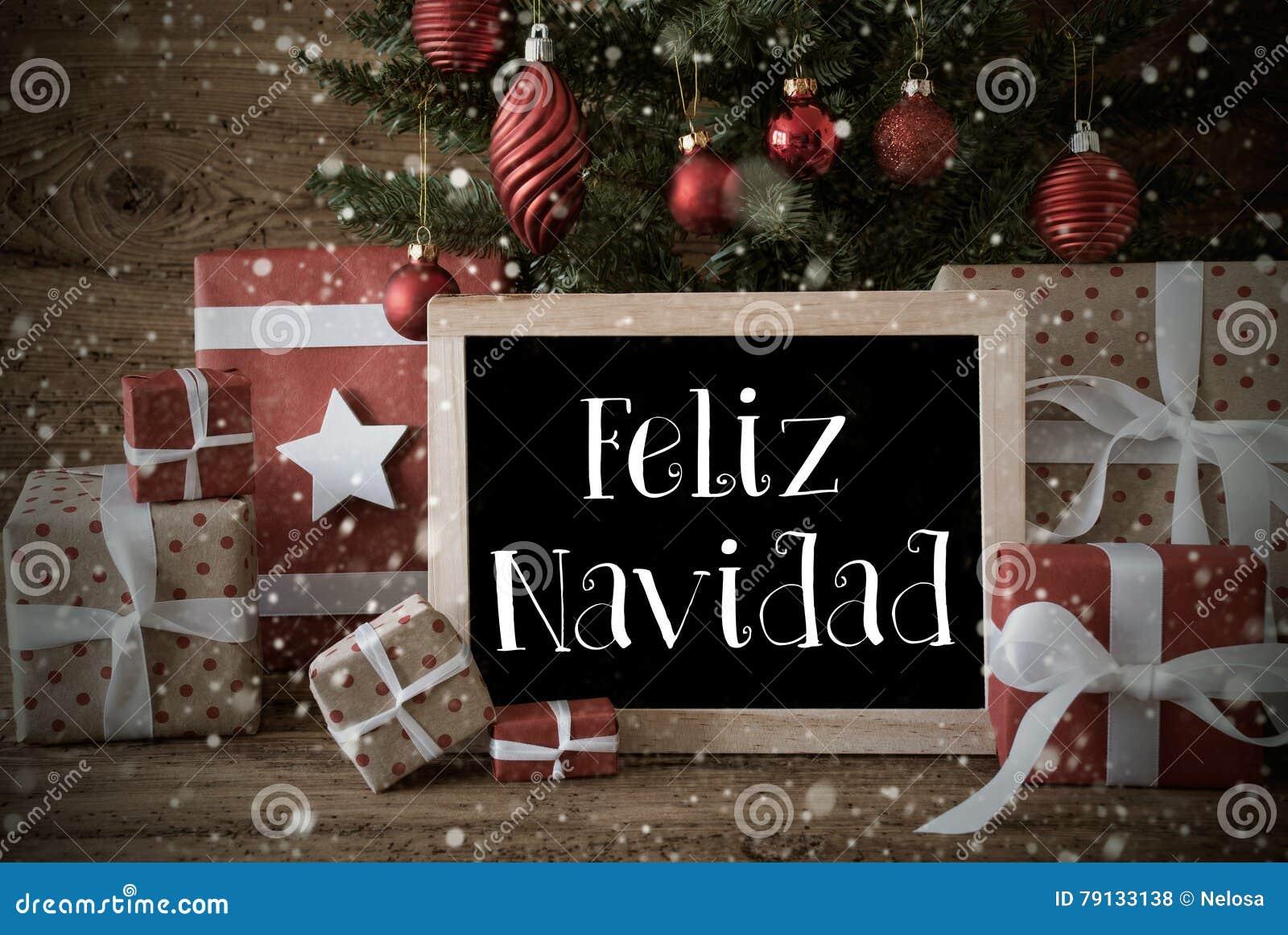 Nostalgic Tree Snowflakes Feliz Navidad Means Merry Christmas