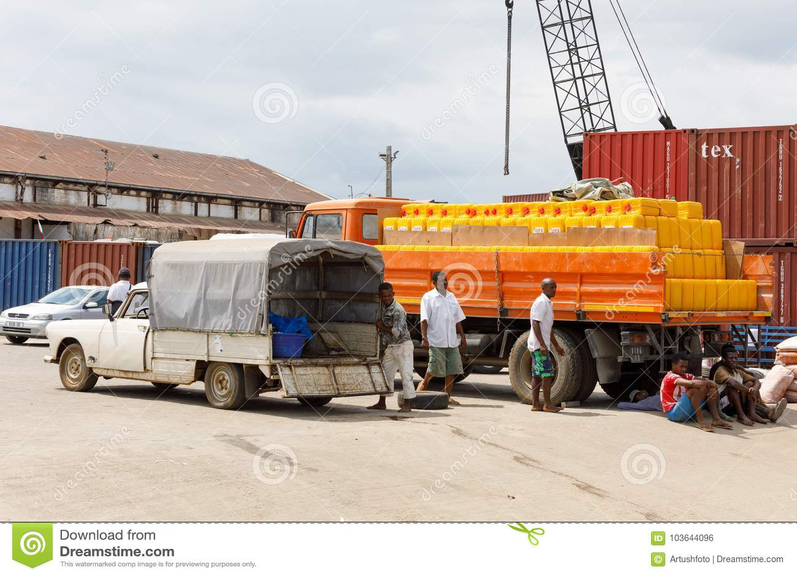 Transport cargo in port of Nosy Be, Madagascar
