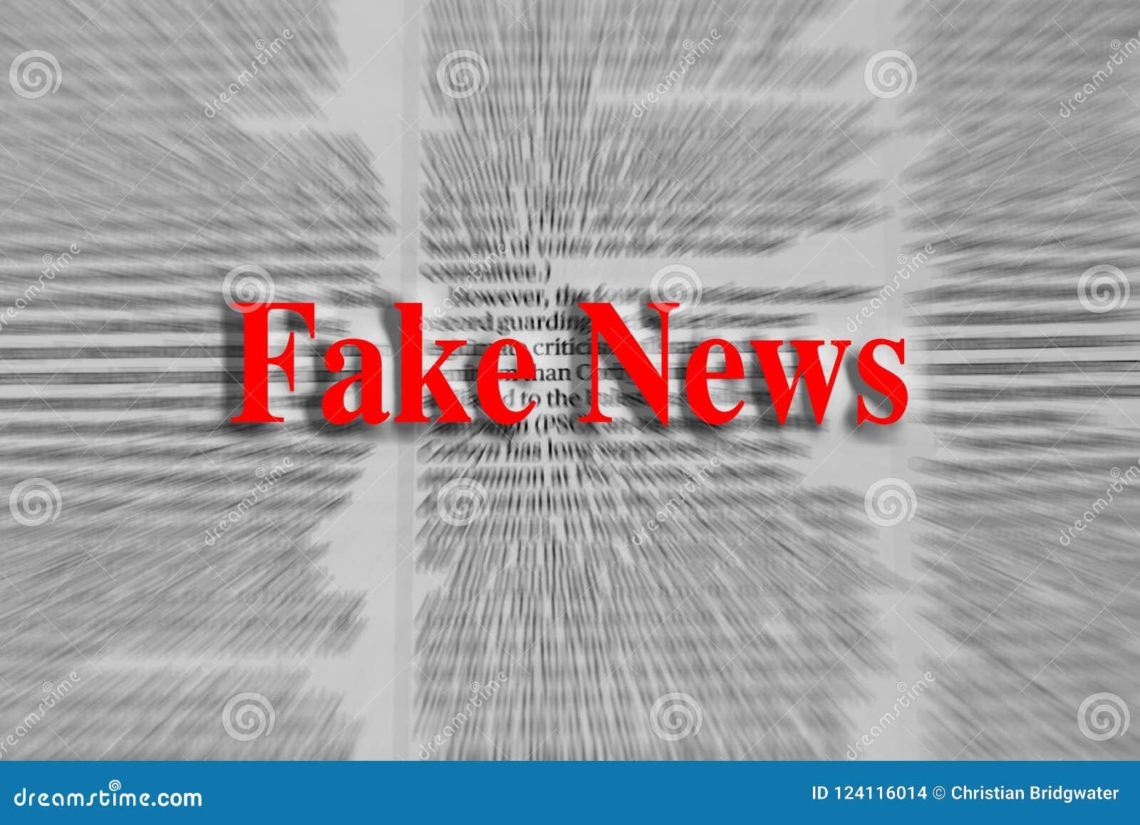 Notícia falsificada escrita no vermelho com um artigo de jornal borrado