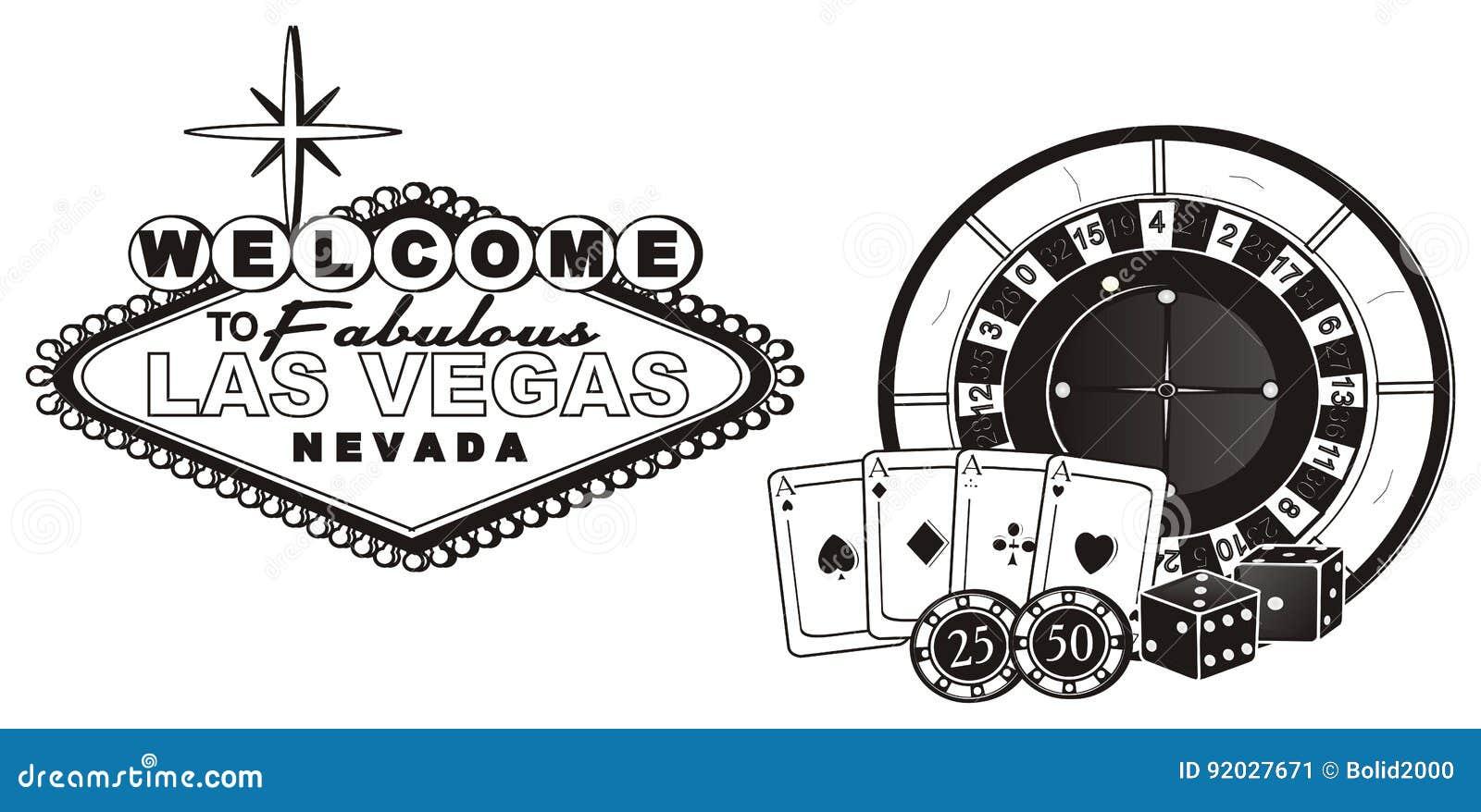Not Colored Symbols Of Casino Stock Illustration Illustration Of