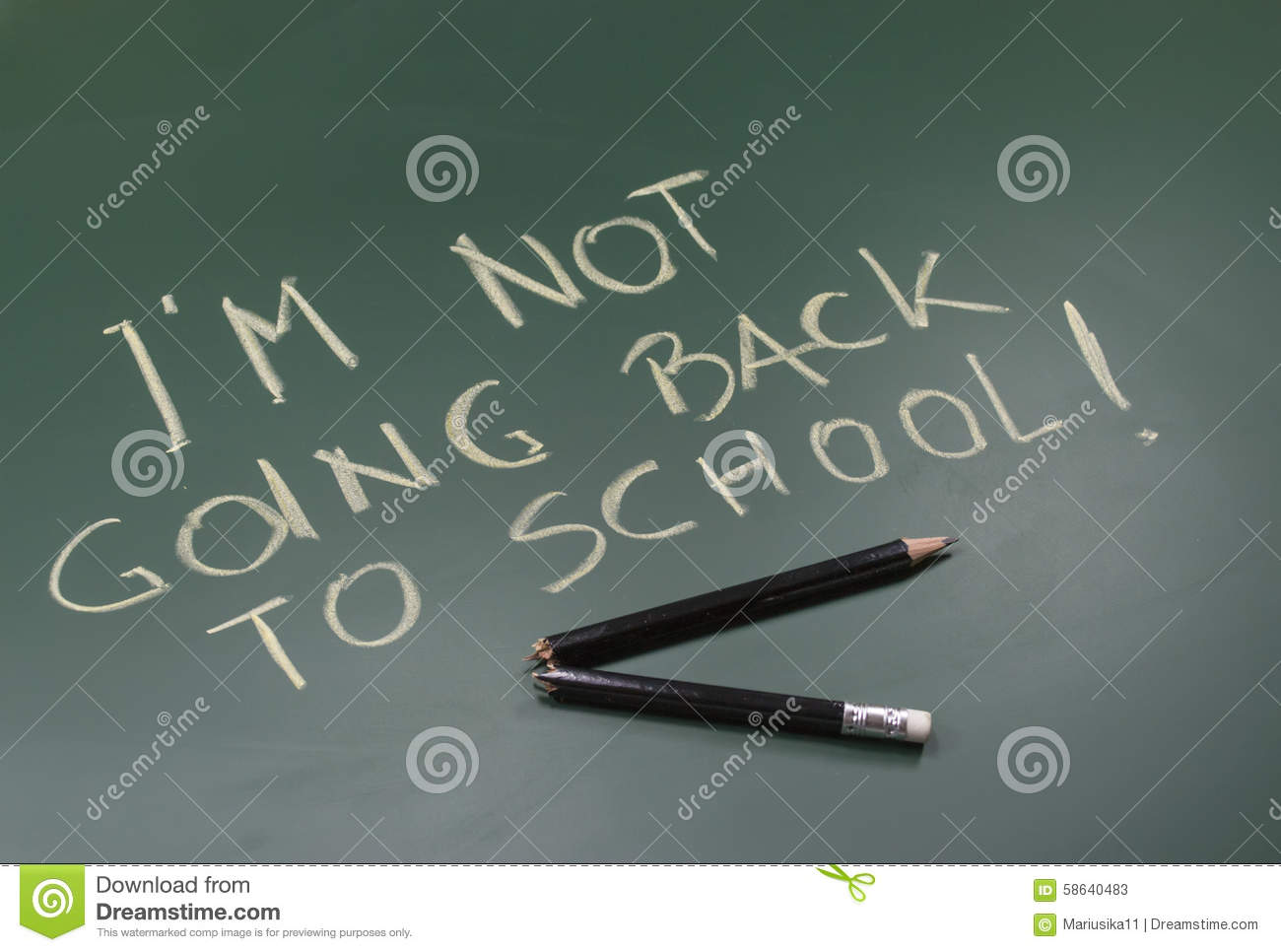 not going back to school stock photo image  not going back to school
