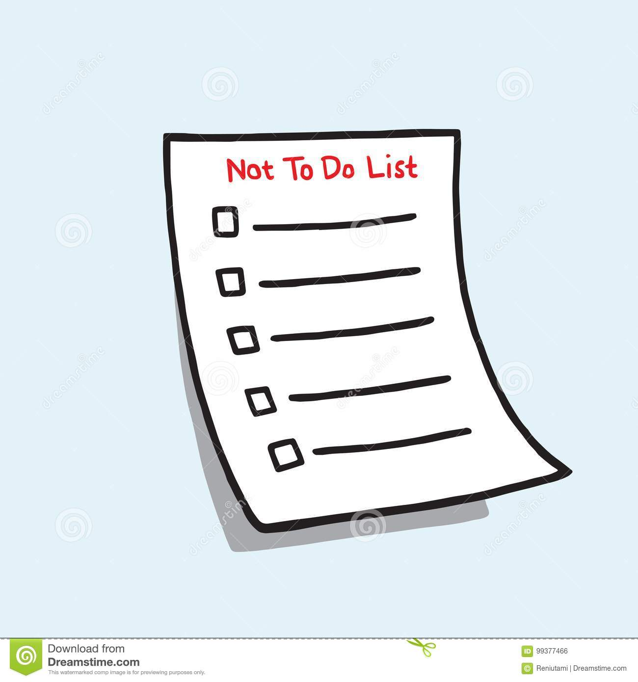 not to do list paper checklist hand drawn doodle vector