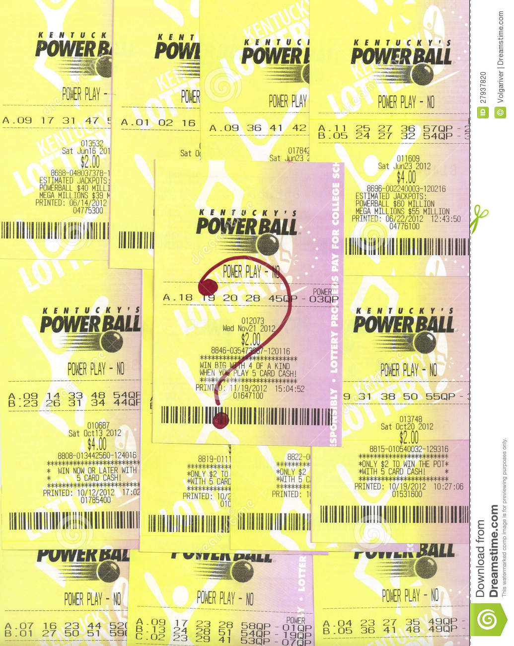 Not Winning PowerBall Lottery Tickets  Editorial Image