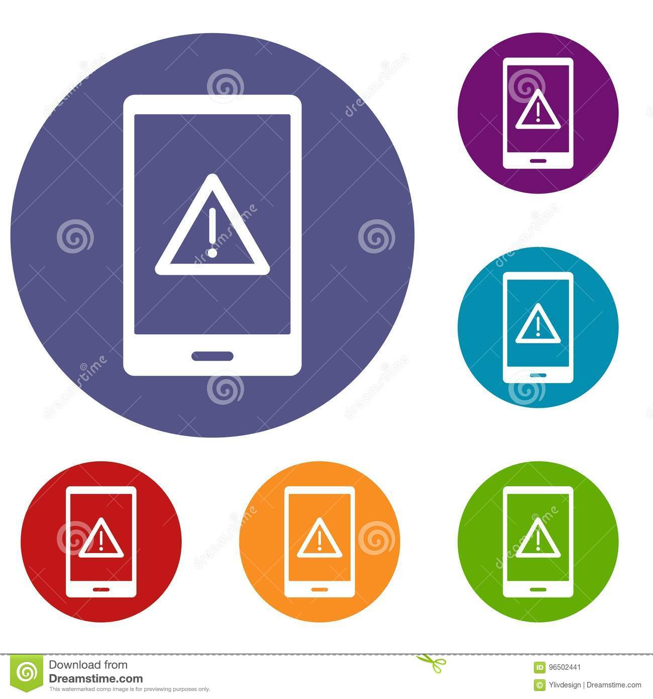 Not Working Phone Icons Set Stock Vector - Illustration of error, security: 96502441
