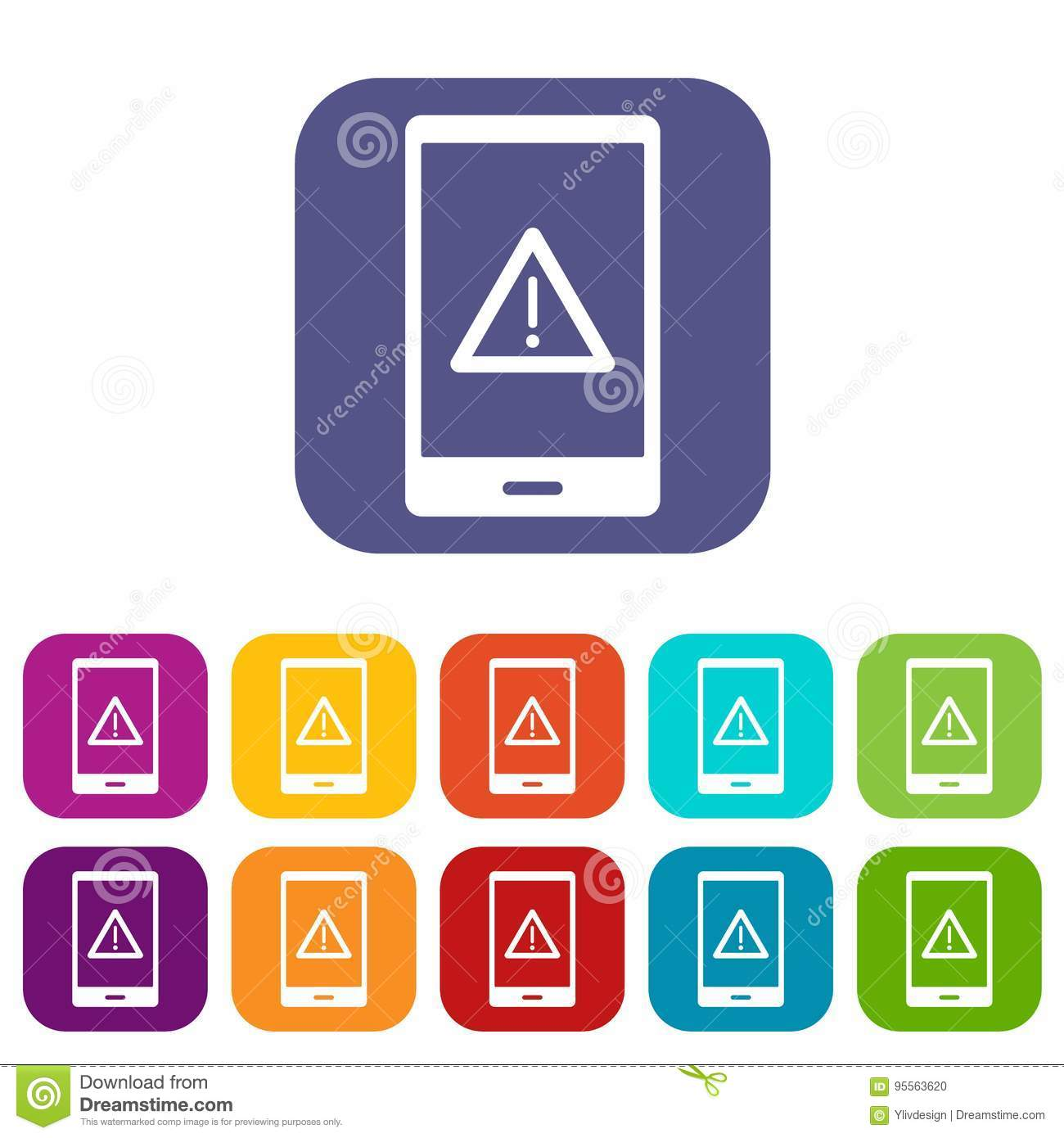 Not Working Phone Icons Set Flat Stock Vector - Illustration of isolated, simple: 95563620