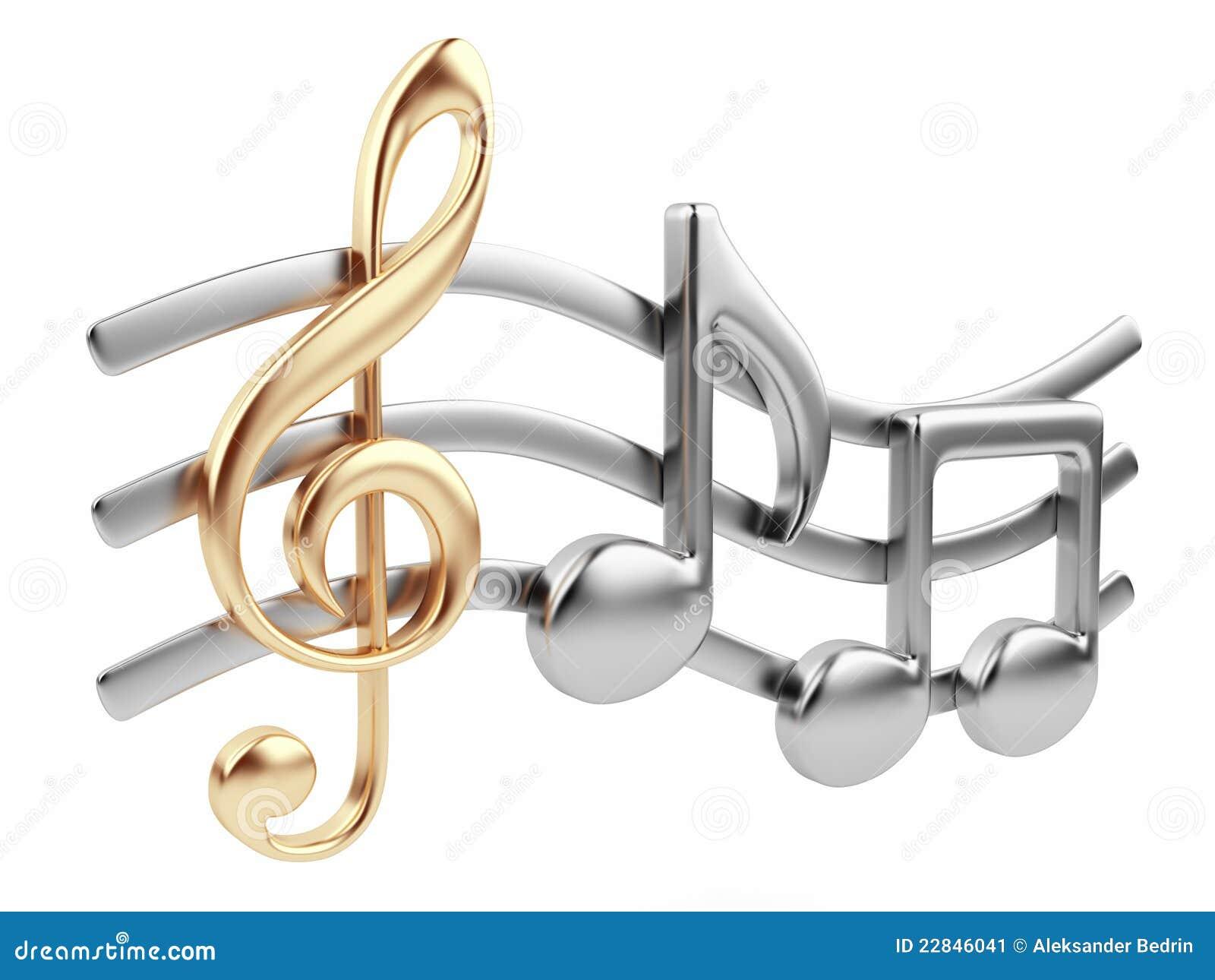Nota 3D de la música. Composición de música. Aislado