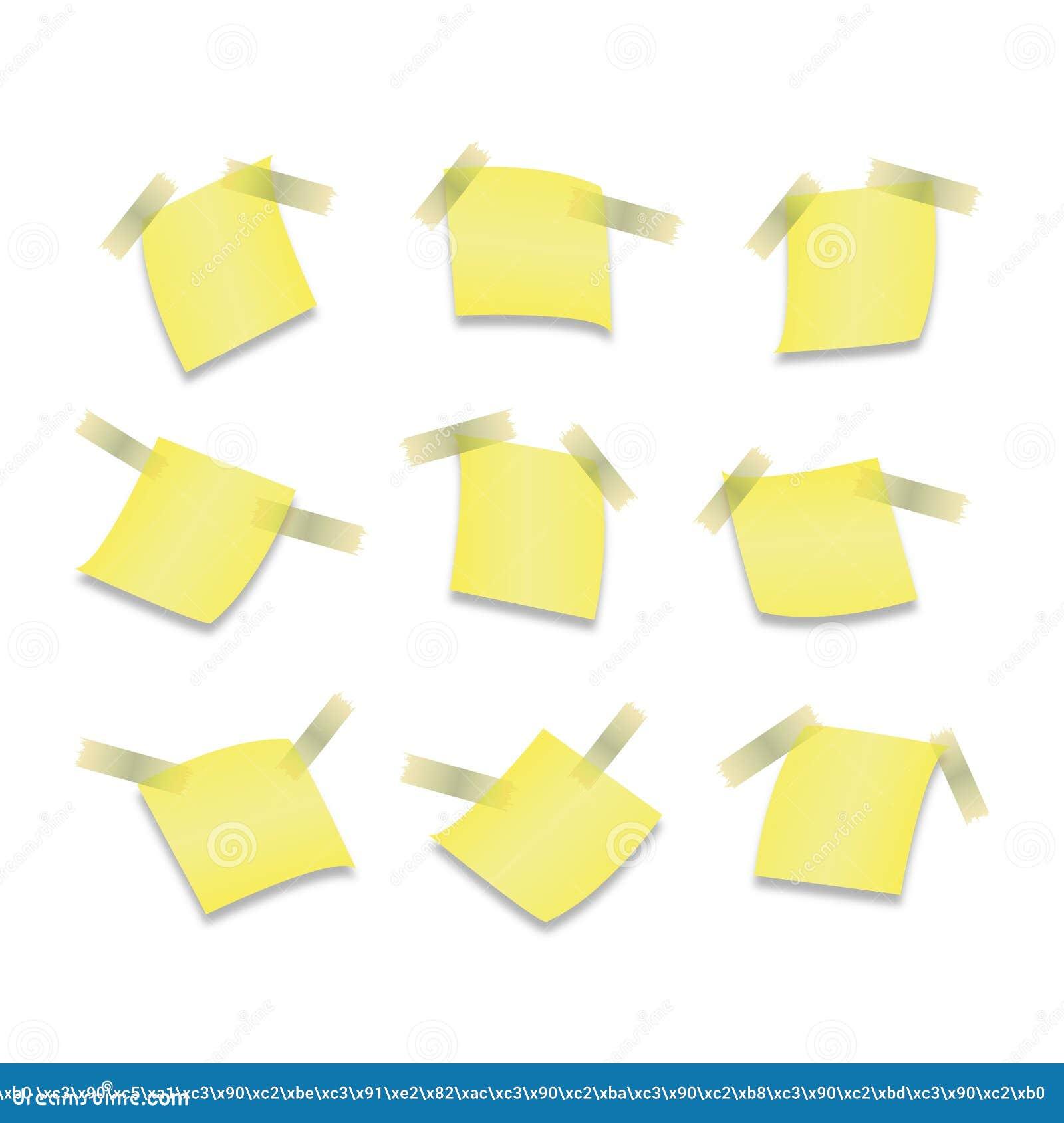 Nota amarilla del palillo aislada en el fondo blanco
