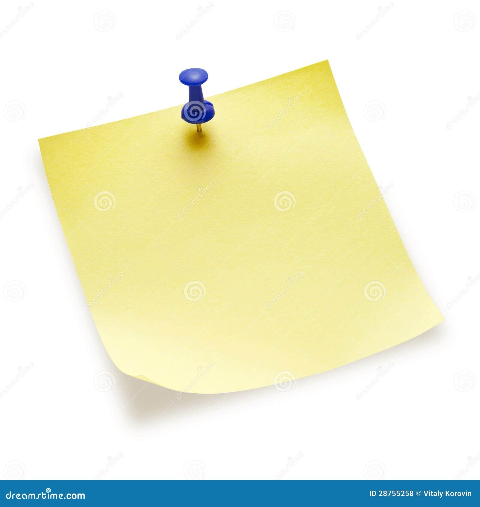 Nota appiccicosa gialla in bianco