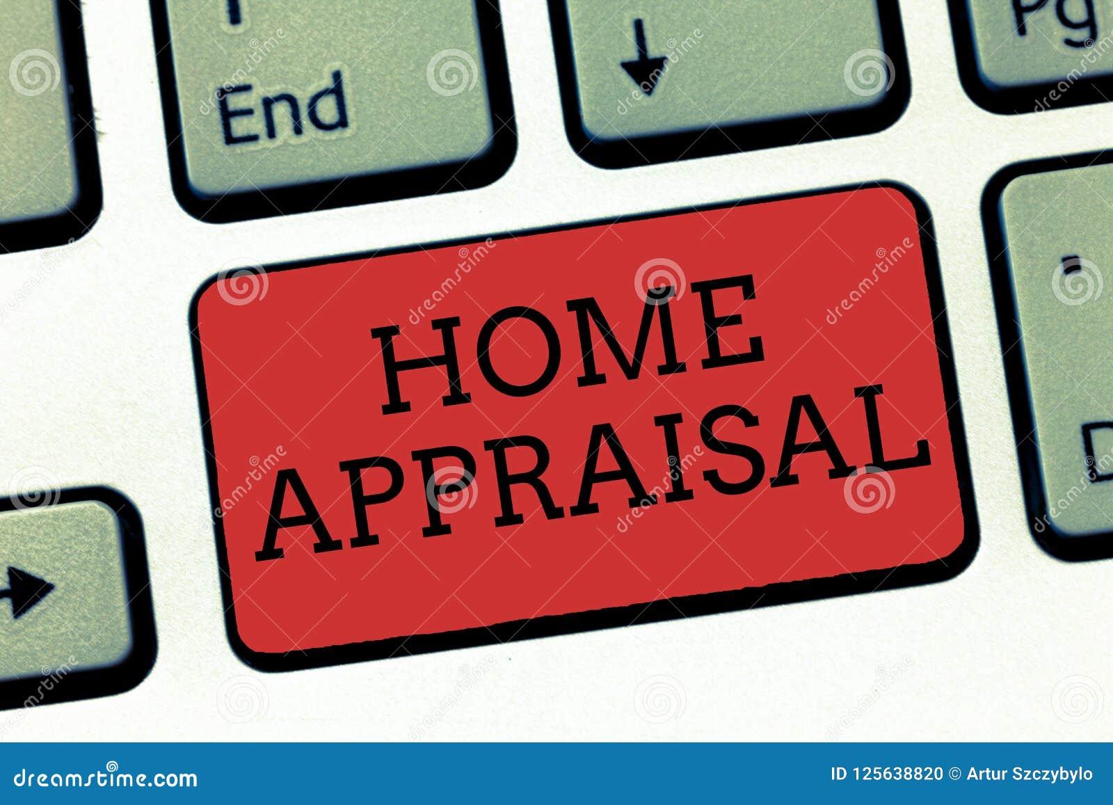 Nota da escrita que mostra a avaliação home Apresentar da foto do negócio determina o valor real e a avaliação da propriedade