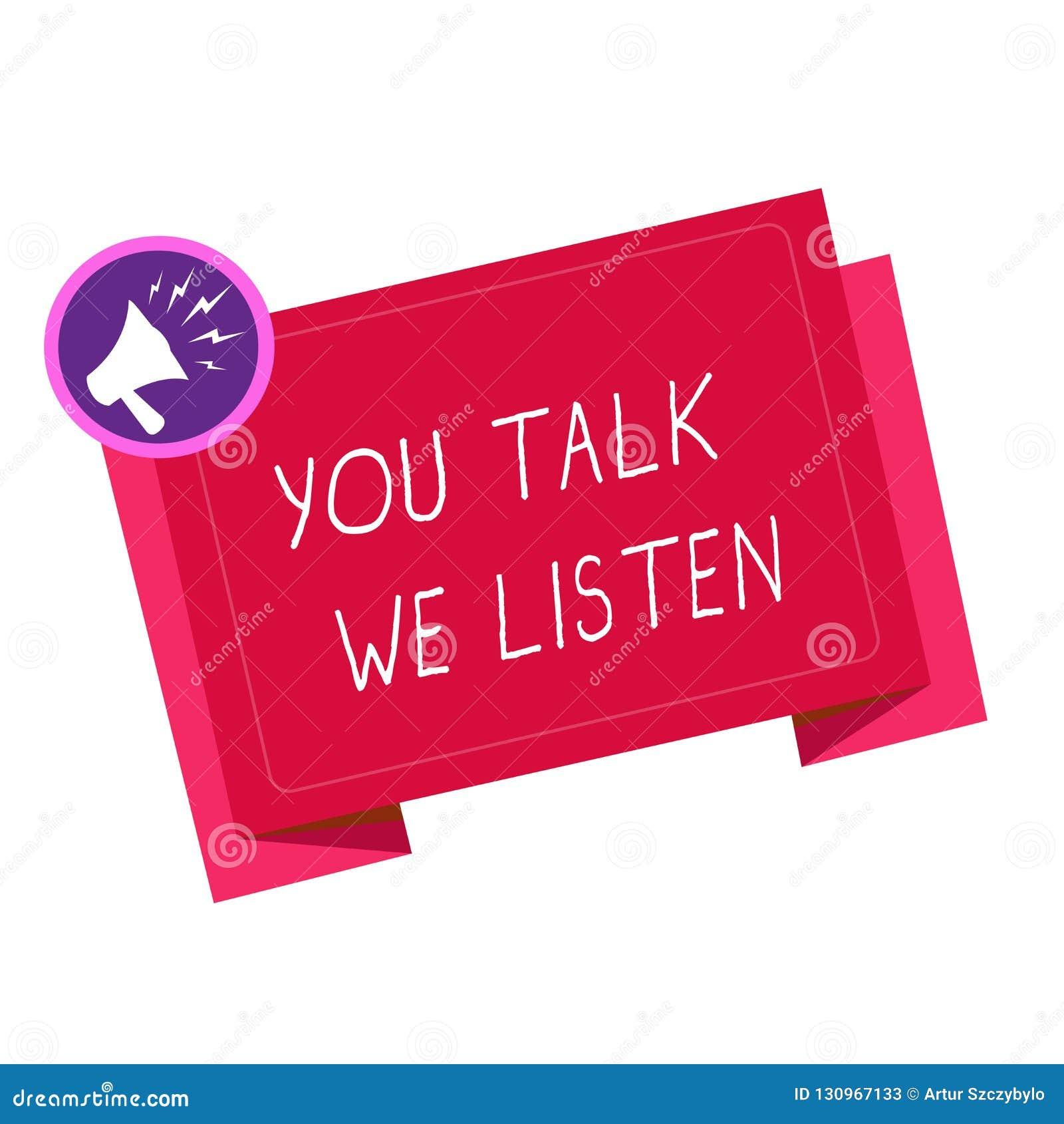 Nota da escrita que mostra lhe a conversa nós escutamos Foto do negócio que apresenta a conversação inspirador de uma comunicação