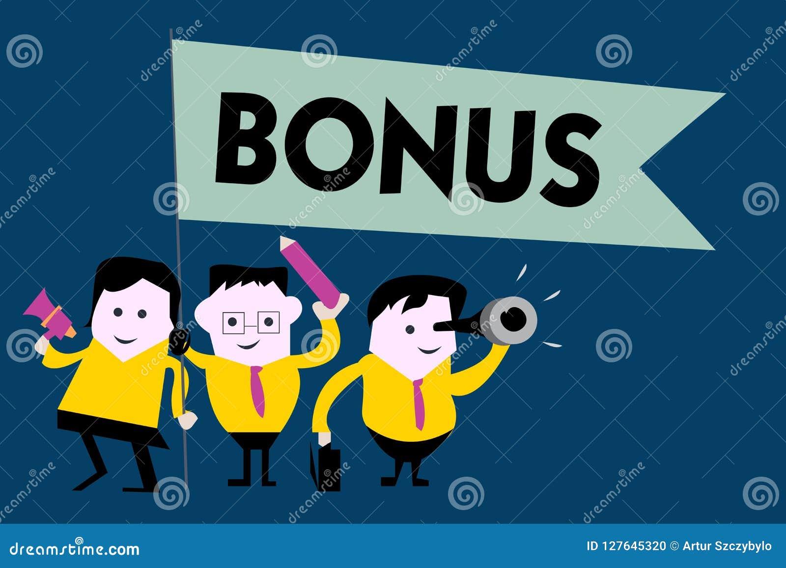 Nota da escrita que mostra o bônus A recompensa apresentando da foto do negócio para o dividendo extra e o dinheiro de bom desemp