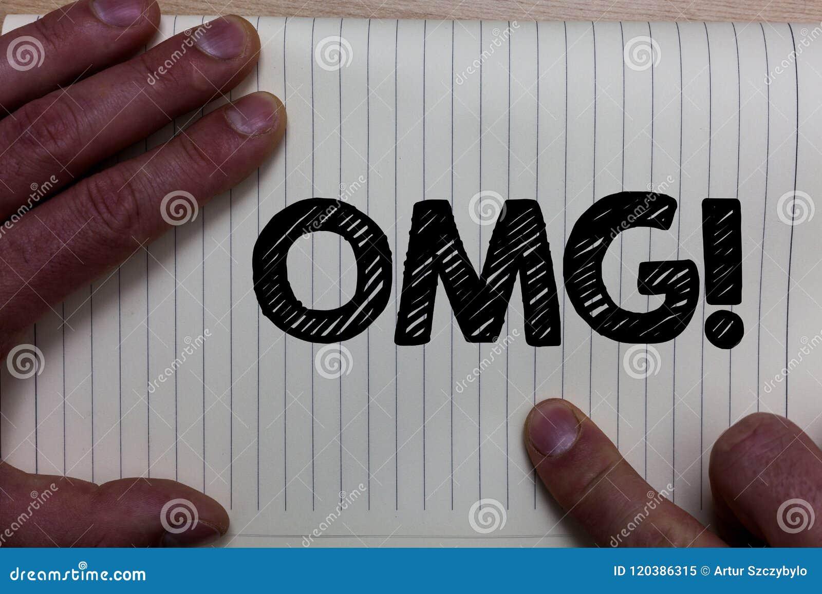 Nota da escrita que mostra a Omg a chamada inspirador Foto do negócio que apresenta oh minha expressão moderna Noteb da admiração