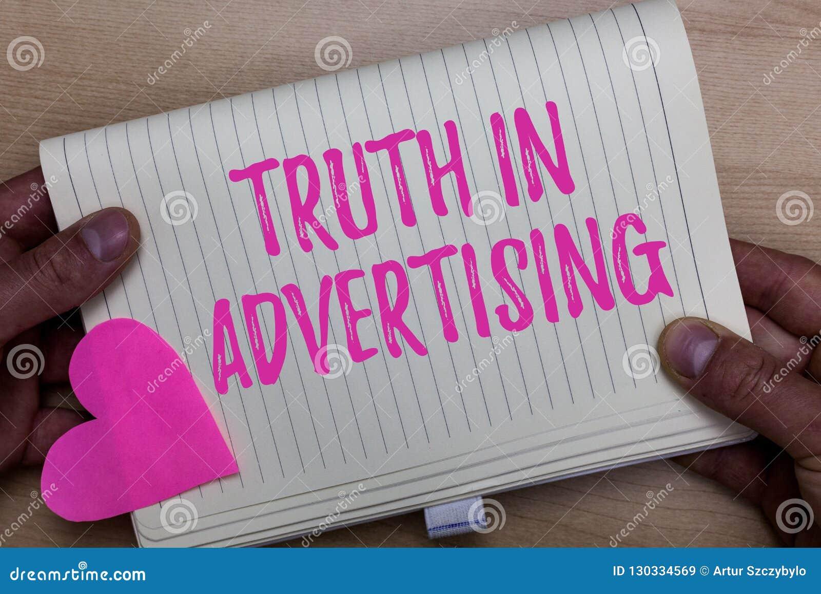 Nota da escrita que mostra a verdade na propaganda Propaganda honesta apresentando da publicidade da propaganda da prática da fot