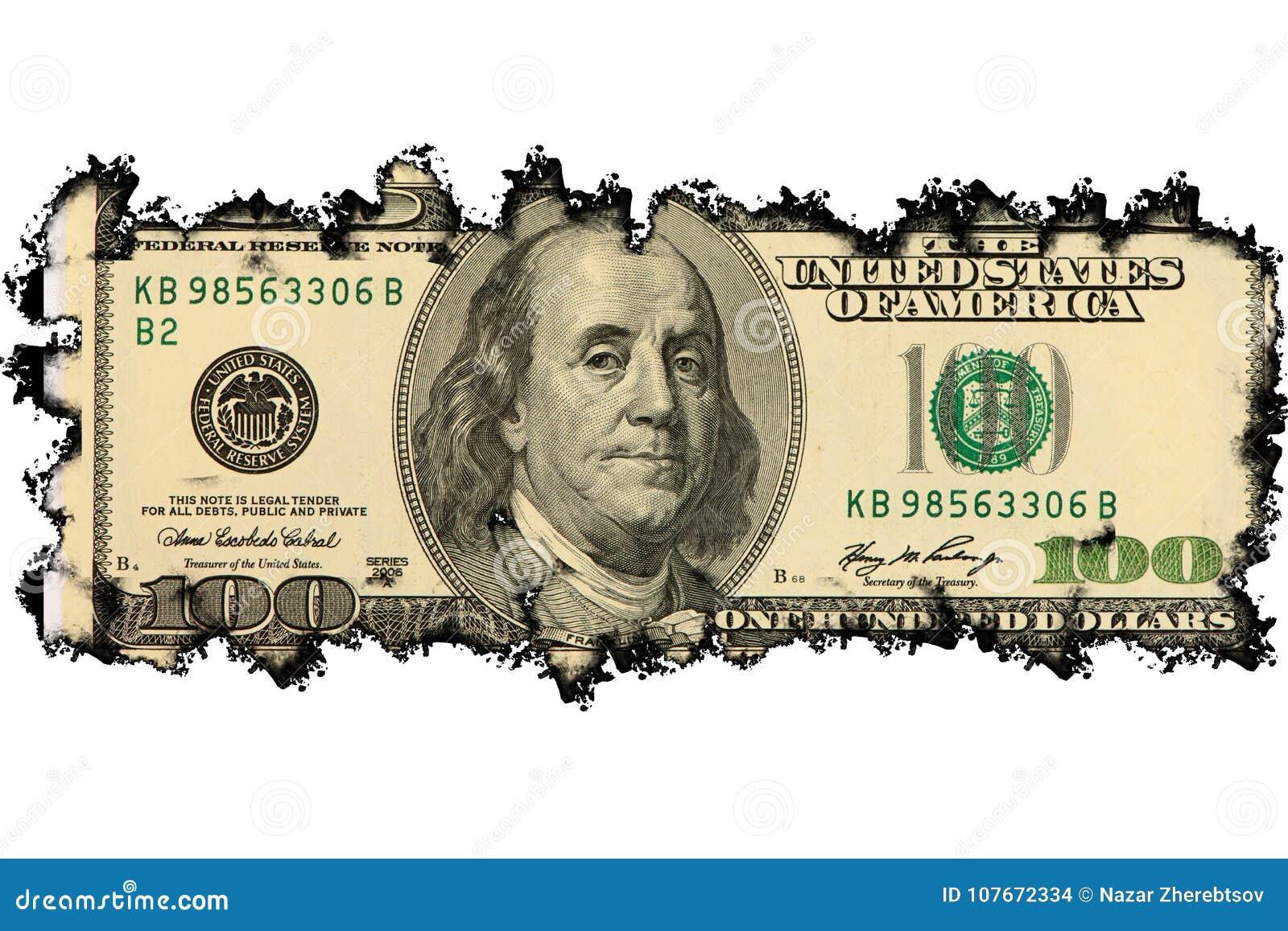Nota de dólar 100 queimada