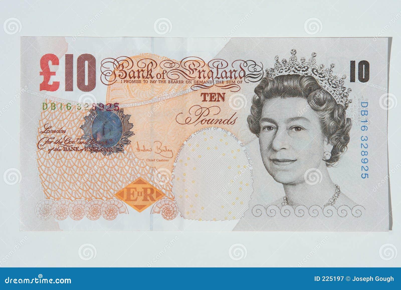 Nota de diez libras, dinero en circulación BRITÁNICO