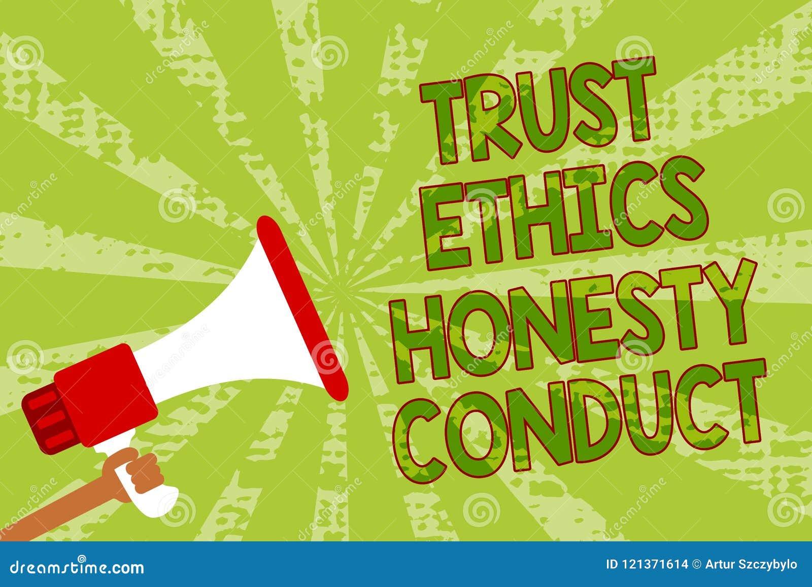 Nota de la escritura que muestra conducta de la honradez de los éticas de la confianza La exhibición de la foto del negocio impli