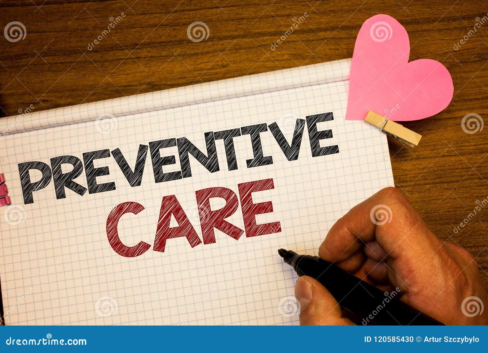 Nota de la escritura que muestra cuidado preventivo La diagnosis de exhibición de la prevención de la salud de la foto del negoci
