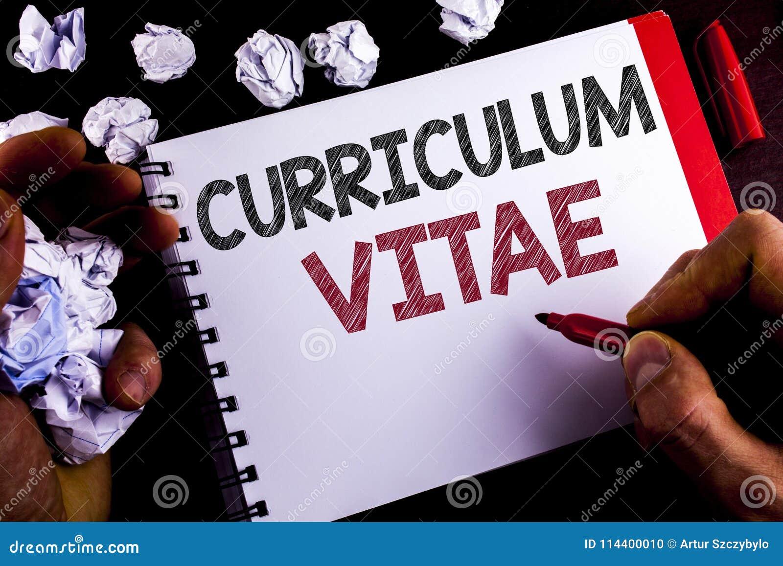 Nota De La Escritura Que Muestra Curriculum Vitae Writt De ...