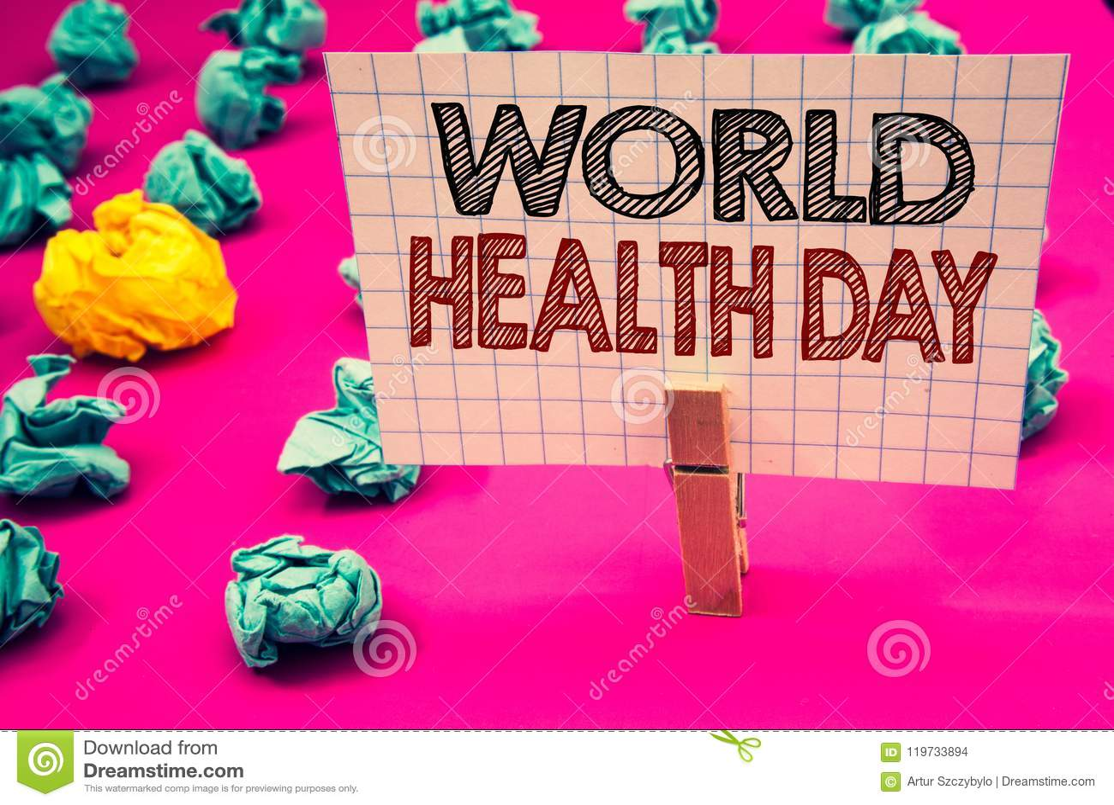 Nota de la escritura que muestra día de salud de mundo La foto del negocio que muestra la fecha especial para las actividades san