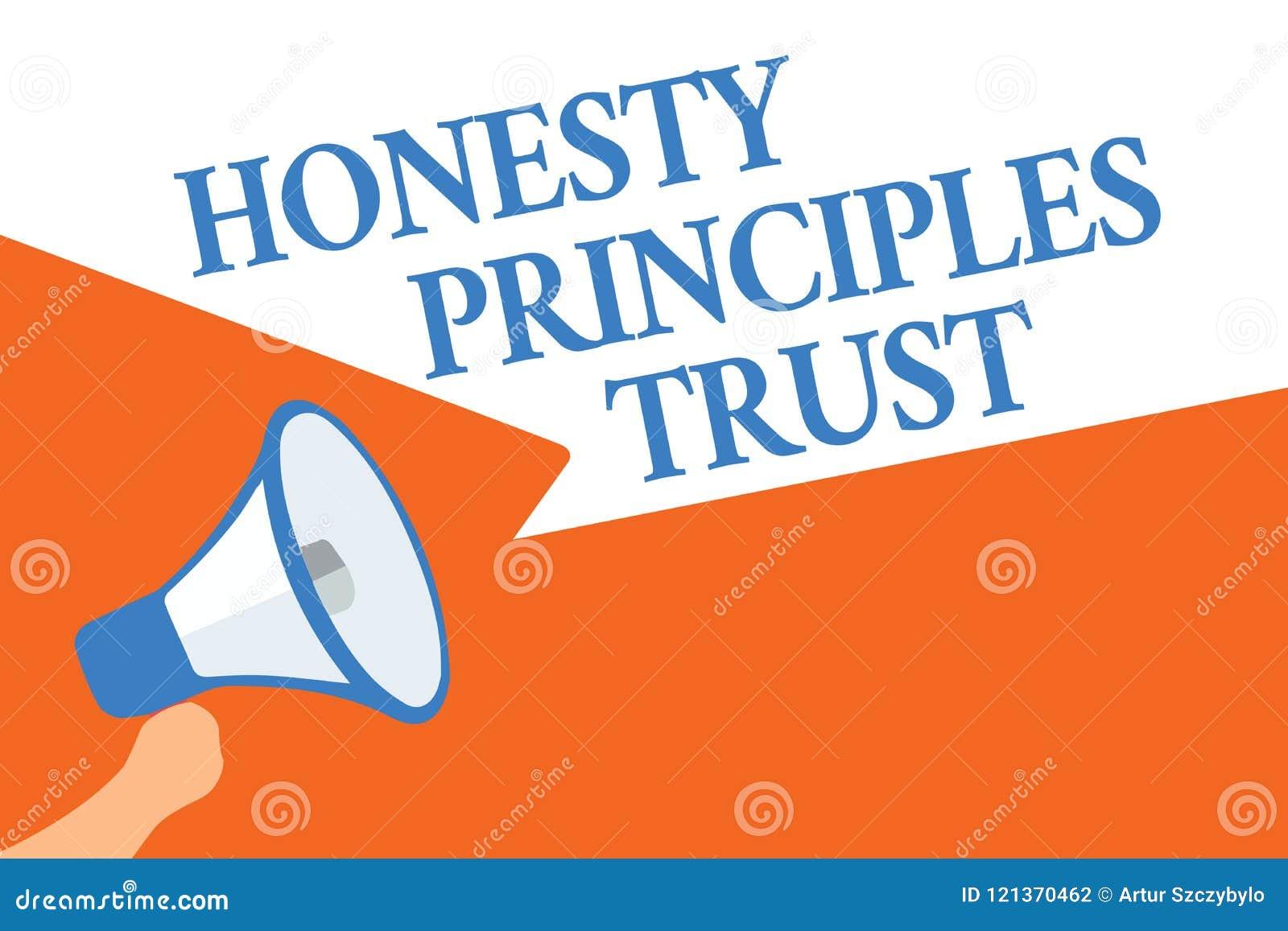 Nota de la escritura que muestra la foto del negocio de confianza de los principios de la honradez que muestra creyendo alguien p