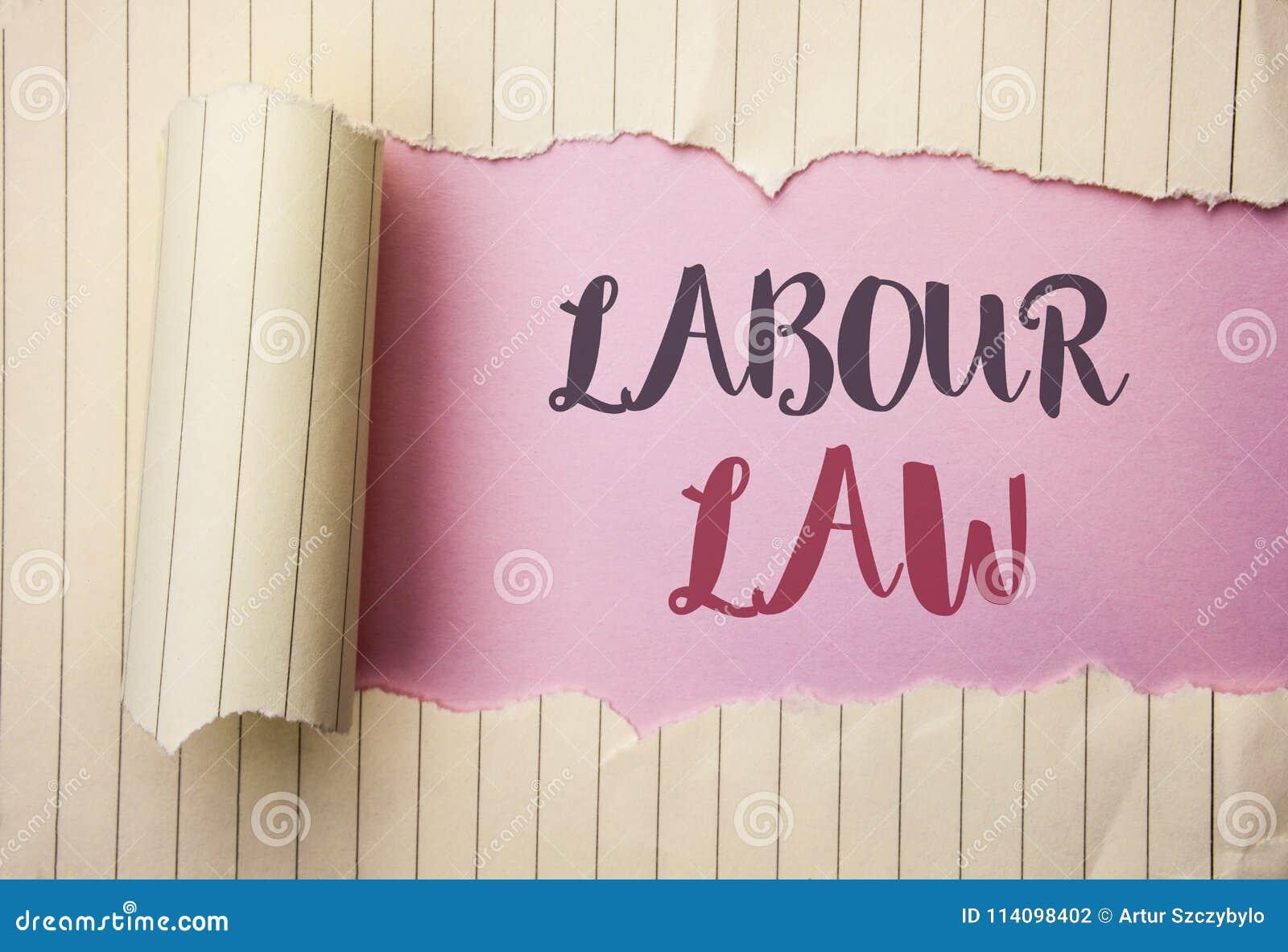 Nota de la escritura que muestra ley de trabajo El empleo de exhibición de la foto del negocio gobierna la legislación o escrito